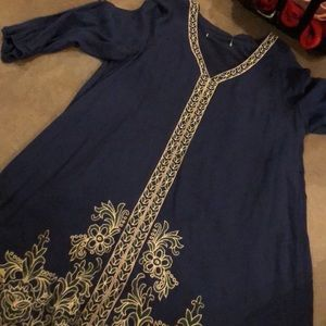 3/4 Sleeve Navy Embroidered Dress
